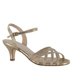 Amara Champagne Glitter Open Toe Womens Evening / Prom Sandals - Shoes from Touch Ups by Benjamin Walk