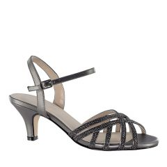 Amara Pewter Glitter Open Toe Womens Evening / Prom Sandals - Shoes from Touch Ups by Benjamin Walk