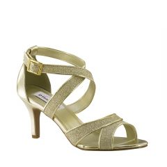 Amber Gold Glitter Open Toe Womens Evening / Prom Sandals - Shoes from Dyeables by Dyeables