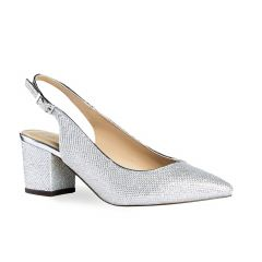 Aubree Silver Glitter Closed Toe Womens Prom Pumps - Shoes by Paradox London