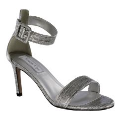 Brenda Pewter Gloss Open Toe Womens Evening / Prom Sandals - Shoes from Touch Ups by Benjamin Walk