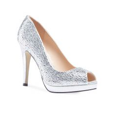 Cassidy Silver Shimmer Peeptoe Womens Prom Pumps - Shoes by Paradox London