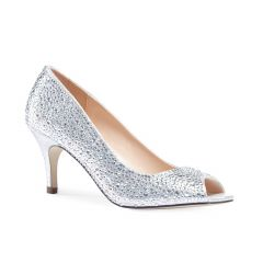 Chantal Silver Shimmer Peeptoe Womens Prom Pumps - Shoes by Paradox London