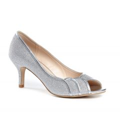 Chester Silver Glitter Mesh Peeptoe Womens Prom Pumps - Shoes by Paradox London