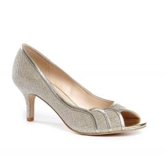 Chester Champagne Glitter Mesh Peeptoe Womens Evening / Prom Pumps - Shoes by Paradox London