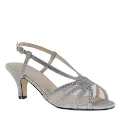 Clara Silver Glitter Open Toe Womens Prom Sandals - Shoes from Touch Ups by Benjamin Walk
