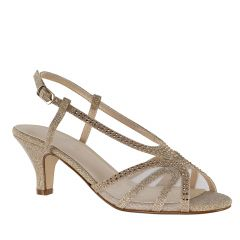 Clara Champagne Glitter Open Toe Womens Evening / Prom Sandals - Shoes from Touch Ups by Benjamin Walk