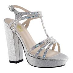 D115 Silver Glitter Open Toe Womens Prom Platform / Sandals - Shoes from Diva by Benjamin Walk