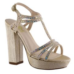 D116 Champagne Glitter Open Toe Womens Evening / Prom Platform / Sandals - Shoes from Diva by Benjamin Walk