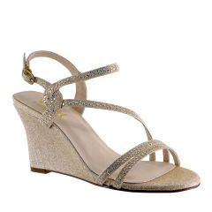 D120 Champagne Glitter Open Toe Womens Evening / Prom Sandals - Shoes from Diva by Benjamin Walk