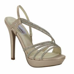 Dahlia Nude Shimmer Open Toe Womens Evening / Prom Sandals - Shoes from Dyeables by Dyeables