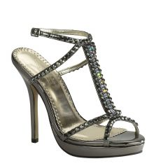 Dante Pewter Mirror Open Toe Womens Evening / Prom Sandals - Shoes from Johnathan Kayne by Benjamin Walk