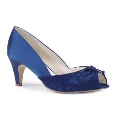 Dariela Navy Satin Peeptoe Womens Evening / Prom Pumps - Shoes by Paradox London