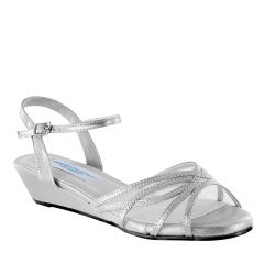 Desi Silver Shimmer Open Toe Womens Prom Sandals - Shoes from Comfort Collection by Benjamin Walk