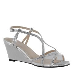 Elodie Silver Shimmer Open Toe Womens Prom Sandals - Shoes from Touch Ups by Benjamin Walk