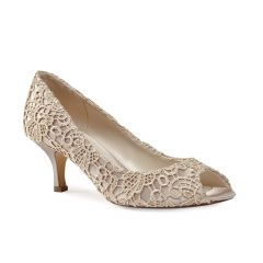 Emotion Taupe Satin Lace Peeptoe Womens Evening / Prom Pumps - Shoes by Paradox London