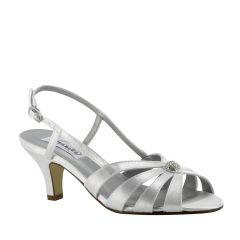 Fiona White Satin Open Toe Womens Bridal Sandals - Shoes from Dyeables by Dyeables