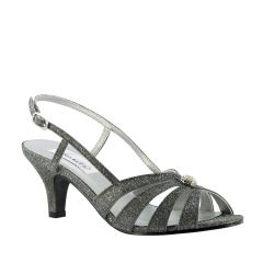 Fiona Pewter Sparkle Open Toe Womens Evening / Prom Sandals - Shoes from Dyeables by Dyeables