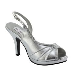 Flora Silver Metallic Open Toe Womens Prom Sandals - Shoes from Dyeables by Dyeables
