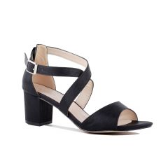 Hadid Black Shimmer Open Toe Womens Evening Sandals - Shoes by Paradox London