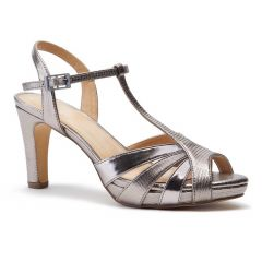 Hinda Pewter Metallic Open Toe Womens Evening / Prom Sandals - Shoes by Paradox London