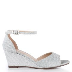 Jemma Silver Glitter Open Toe Womens Prom Sandals - Shoes by Paradox London