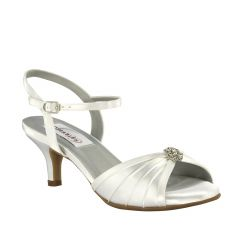 Kelsey White Satin Open Toe Womens Bridal Sandals - Shoes from Dyeables by Dyeables