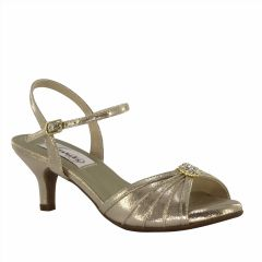 Kelsey Champagne Shimmer Open Toe Womens Evening / Prom Sandals - Shoes from Dyeables by Dyeables