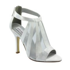 Lotus White Satin Peeptoe Womens Bridal Sandals - Shoes from Dyeables by Dyeables