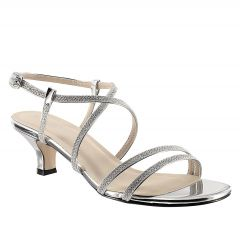 Maisie Silver Shimmer Open Toe Womens Prom Sandals - Shoes from Touch Ups by Benjamin Walk