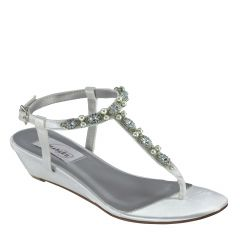 Myra White Satin Open Toe Womens Destination / Bridal Sandals - Shoes from Dyeables by Dyeables