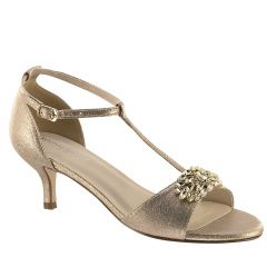 Ophelia Champagne Shimmer Open Toe Womens Evening / Prom Sandals - Shoes from Touch Ups by Benjamin Walk