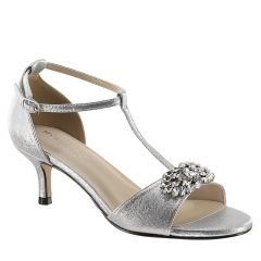 Ophelia Silver Shimmer Open Toe Womens Prom Sandals - Shoes from Touch Ups by Benjamin Walk