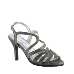 Paisley Pewter Sparkle Open Toe Womens Evening / Prom Sandals - Shoes from Dyeables by Dyeables