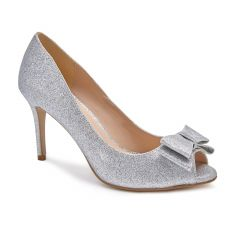 Piper Silver Glitter Peeptoe Womens Prom Pumps - Shoes by Paradox London