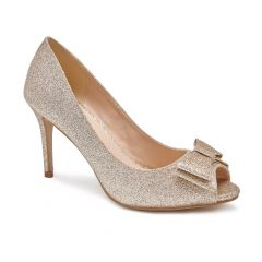 Piper Champagne Glitter Peeptoe Womens Evening / Prom Pumps - Shoes by Paradox London