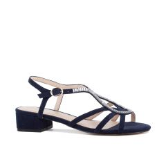 Rita Navy Micro Suede Open Toe Womens Evening / Prom Sandals - Shoes by Paradox London