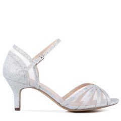 Sonya Silver Glitter Open Toe Womens Prom Sandals - Shoes by Paradox London