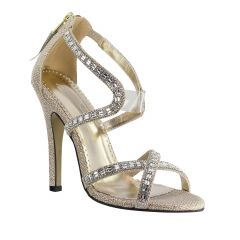 Soraya Champagne Glitter Open Toe Womens Evening / Prom Sandals - Shoes from Johnathan Kayne by Benjamin Walk