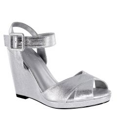 Stormy Silver Shimmer Open Toe Womens Prom Platform / Sandals - Shoes from Touch Ups by Benjamin Walk
