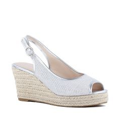 Tania Silver Shimmer Peeptoe Womens Destination / Prom Platform / Pumps - Shoes by Paradox London