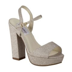 Whitta Champagne Glitter Open Toe Womens Evening / Prom Platform / Sandals - Shoes from Dyeables by Dyeables