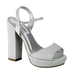 Whitta Silver Glitter Open Toe Womens Prom Platform / Sandals - Shoes from Dyeables by Dyeables
