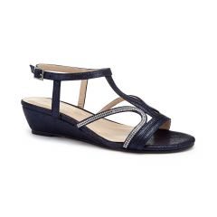 Wynita Navy Shimmer Open Toe Womens Destination / Evening / Prom Sandals - Shoes by Paradox London